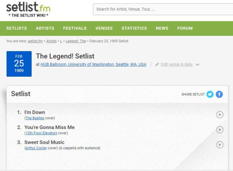 legend setlist